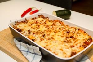 Kjøttgrateng med potet- og blomkålmos