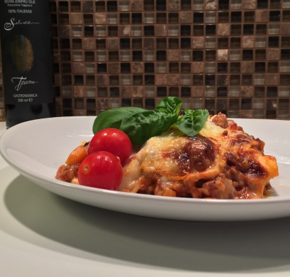 Lasagne med ostesaus av cottage cheese