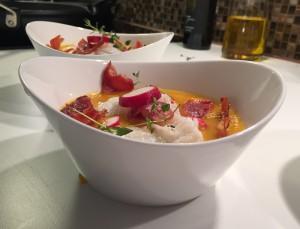 Gulrotsuppe med torsk, ingefær og chili