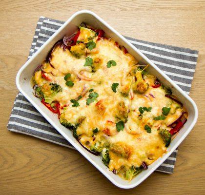 Kyllingform med brokkoli og paprika