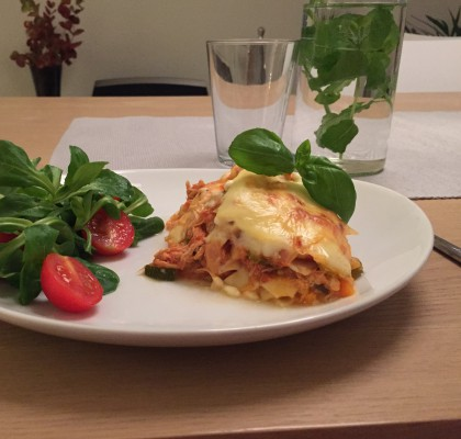 Lasagne a la pulled chicken