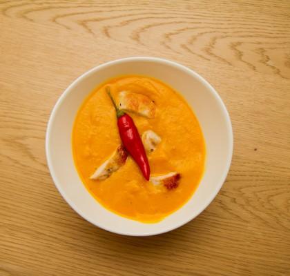 Spicy gresskarsuppe med kylling