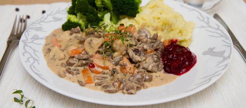 Finnbiff med potet- og blomkålmos