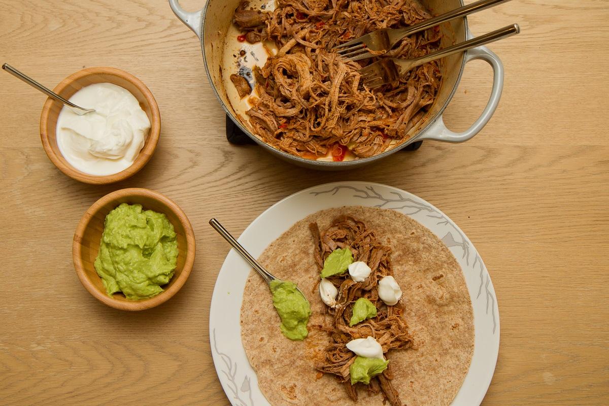 Pulled pork taco med tilbehør