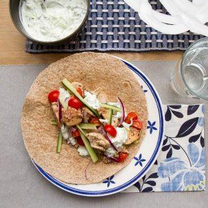 Gresk wraps med kylling og tzatziki