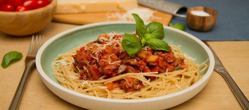 Spaghetti i kjøttsaus med chorizo