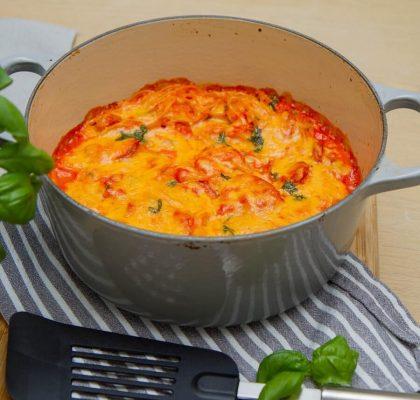Spaghettigrateng med spicy pølser
