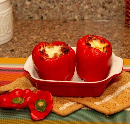 Serveringsklare tacofylte paprika